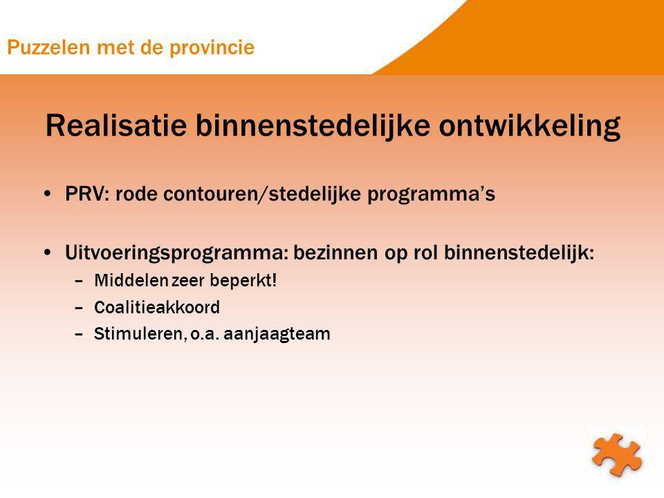 Puzzelen met de provincie Realisatie binnenstedelijke ontwikkeling PRV: rode contouren/stedelijke programma's Uitvoeringsprogramma: bezinnen op rol bi