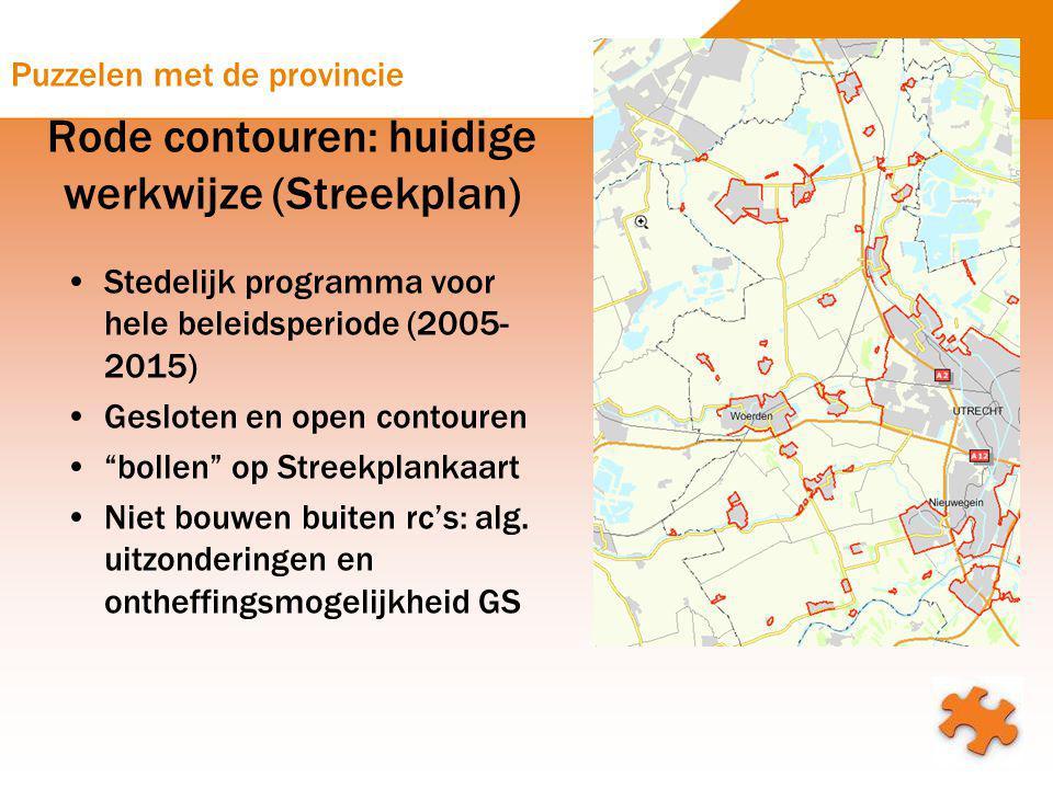 Puzzelen met de provincie Rode contouren: huidige werkwijze (Streekplan) Stedelijk programma voor hele beleidsperiode (2005- 2015) Gesloten en open co
