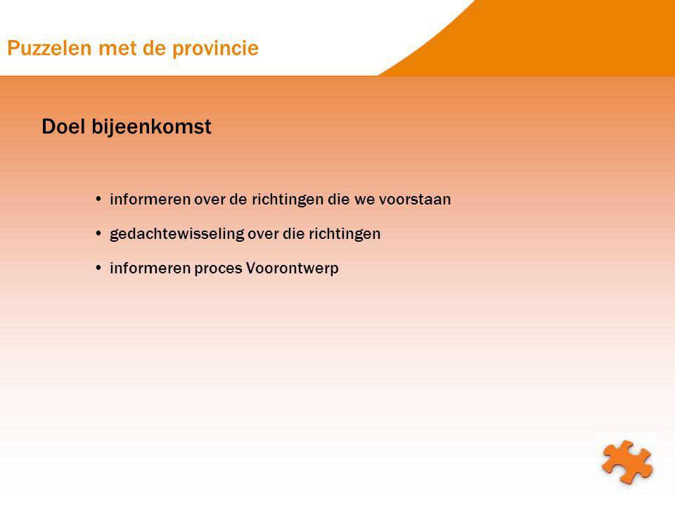 Puzzelen met de provincie Doel bijeenkomst informeren over de richtingen die we voorstaan gedachtewisseling over die richtingen informeren proces Voor
