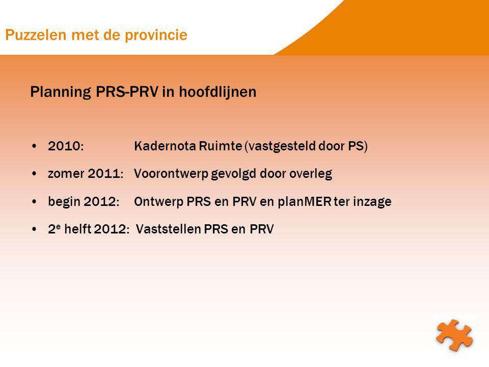 Puzzelen met de provincie Planning PRS-PRV in hoofdlijnen 2010: Kadernota Ruimte (vastgesteld door PS) zomer 2011: Voorontwerp gevolgd door overleg be