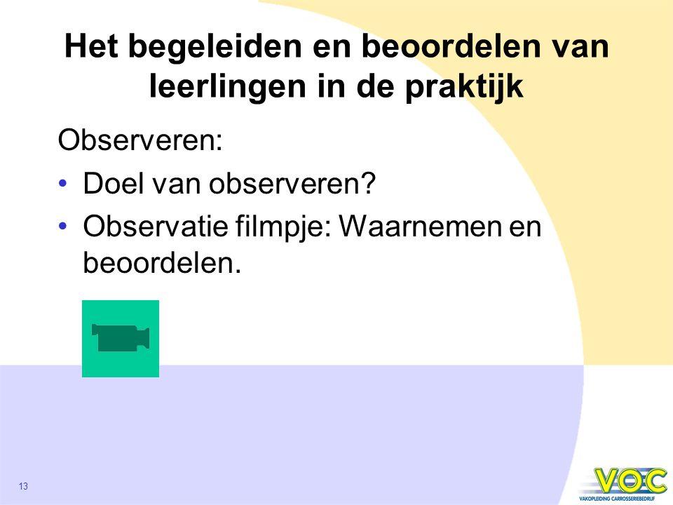 13 Het begeleiden en beoordelen van leerlingen in de praktijk Observeren: Doel van observeren.