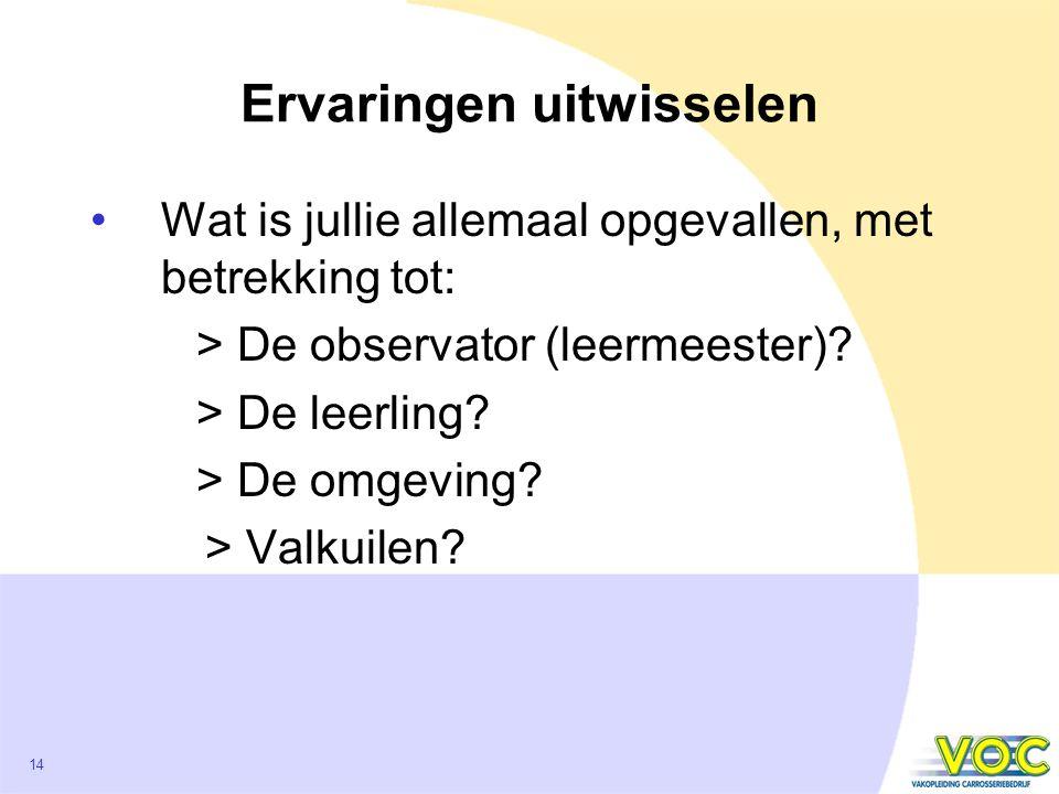 14 Ervaringen uitwisselen Wat is jullie allemaal opgevallen, met betrekking tot: > De observator (leermeester).