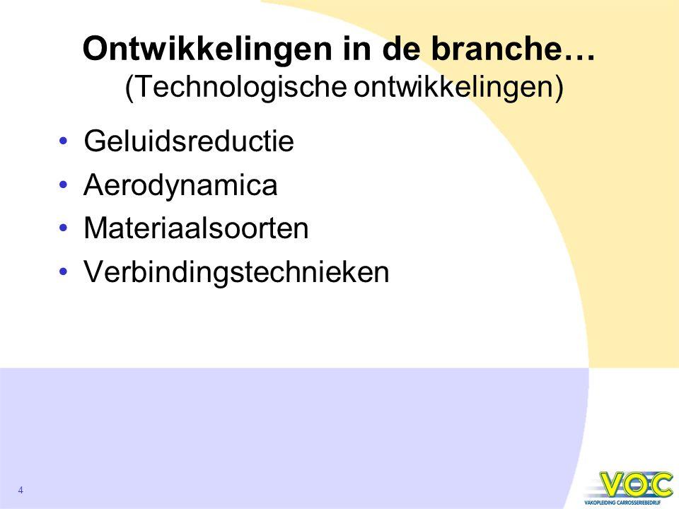 4 Ontwikkelingen in de branche… (Technologische ontwikkelingen) Geluidsreductie Aerodynamica Materiaalsoorten Verbindingstechnieken