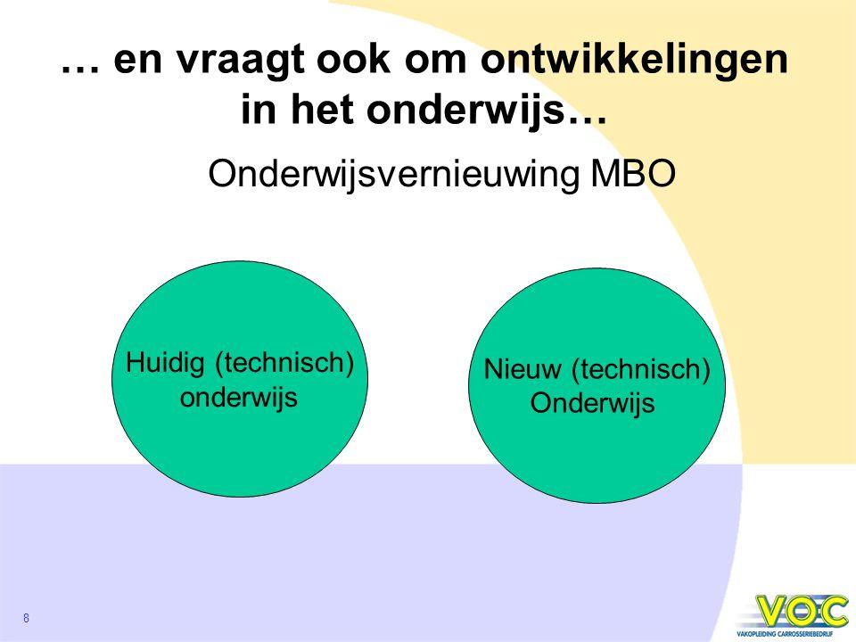 8 … en vraagt ook om ontwikkelingen in het onderwijs… Huidig (technisch) onderwijs Nieuw (technisch) Onderwijs Onderwijsvernieuwing MBO