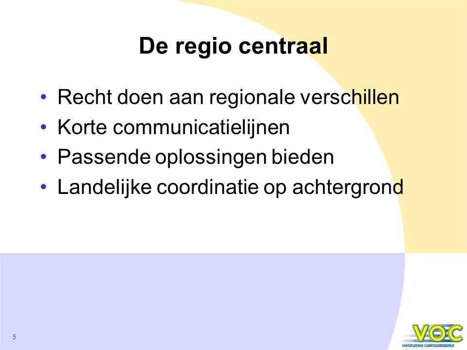 5 De regio centraal Recht doen aan regionale verschillen Korte communicatielijnen Passende oplossingen bieden Landelijke coordinatie op achtergrond