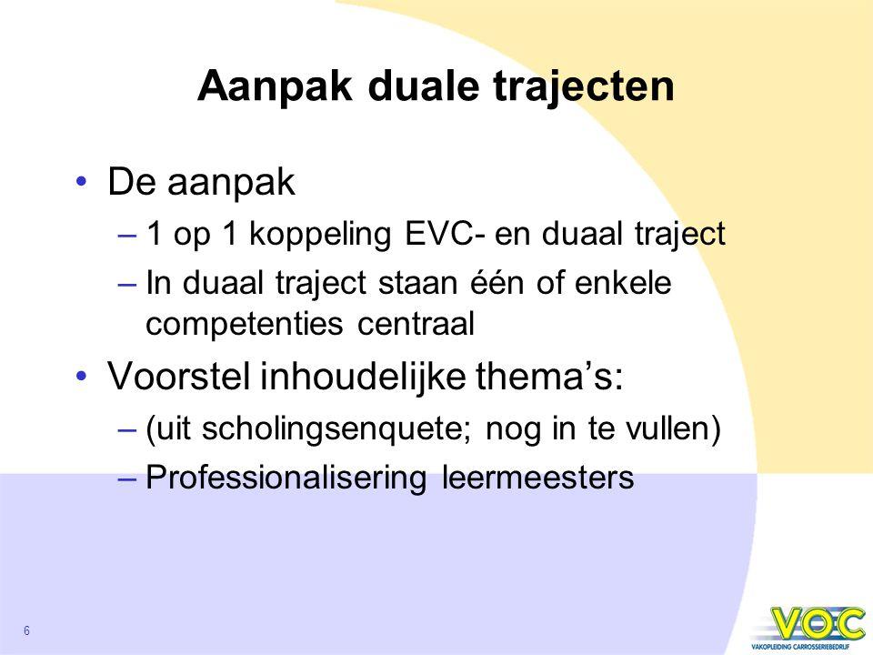 6 Aanpak duale trajecten De aanpak –1 op 1 koppeling EVC- en duaal traject –In duaal traject staan één of enkele competenties centraal Voorstel inhoudelijke thema's: –(uit scholingsenquete; nog in te vullen) –Professionalisering leermeesters