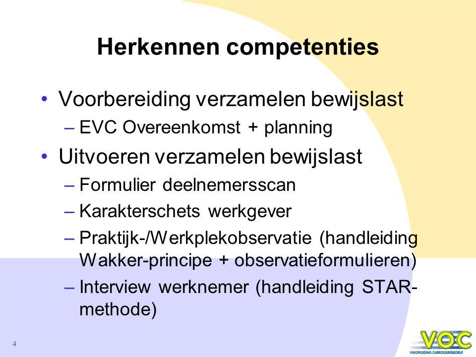 4 Herkennen competenties Voorbereiding verzamelen bewijslast –EVC Overeenkomst + planning Uitvoeren verzamelen bewijslast –Formulier deelnemersscan –K