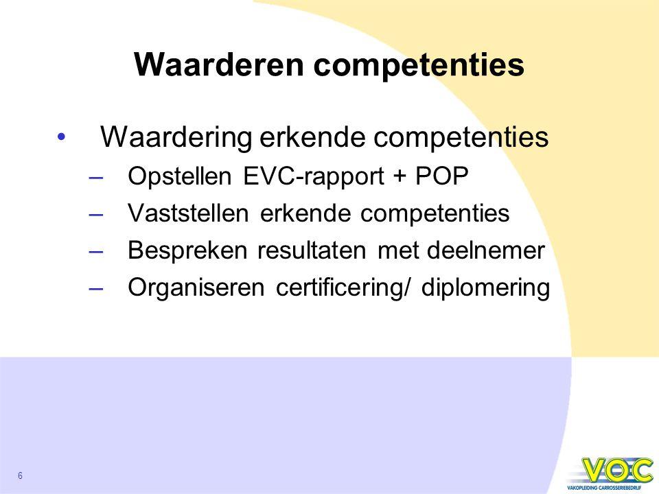 6 Waarderen competenties Waardering erkende competenties –Opstellen EVC-rapport + POP –Vaststellen erkende competenties –Bespreken resultaten met deelnemer –Organiseren certificering/ diplomering