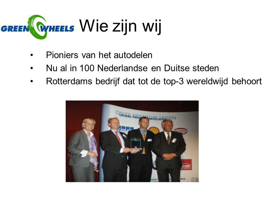 Wie zijn wij Pioniers van het autodelen Nu al in 100 Nederlandse en Duitse steden Rotterdams bedrijf dat tot de top-3 wereldwijd behoort