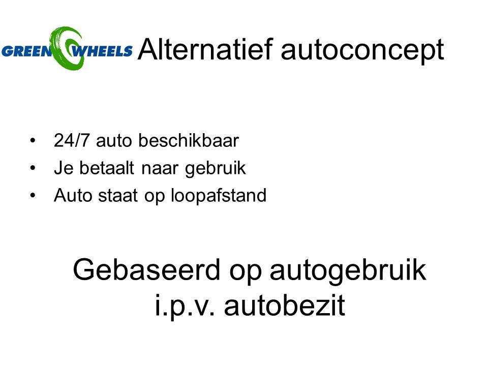 Alternatief autoconcept 24/7 auto beschikbaar Je betaalt naar gebruik Auto staat op loopafstand Gebaseerd op autogebruik i.p.v.