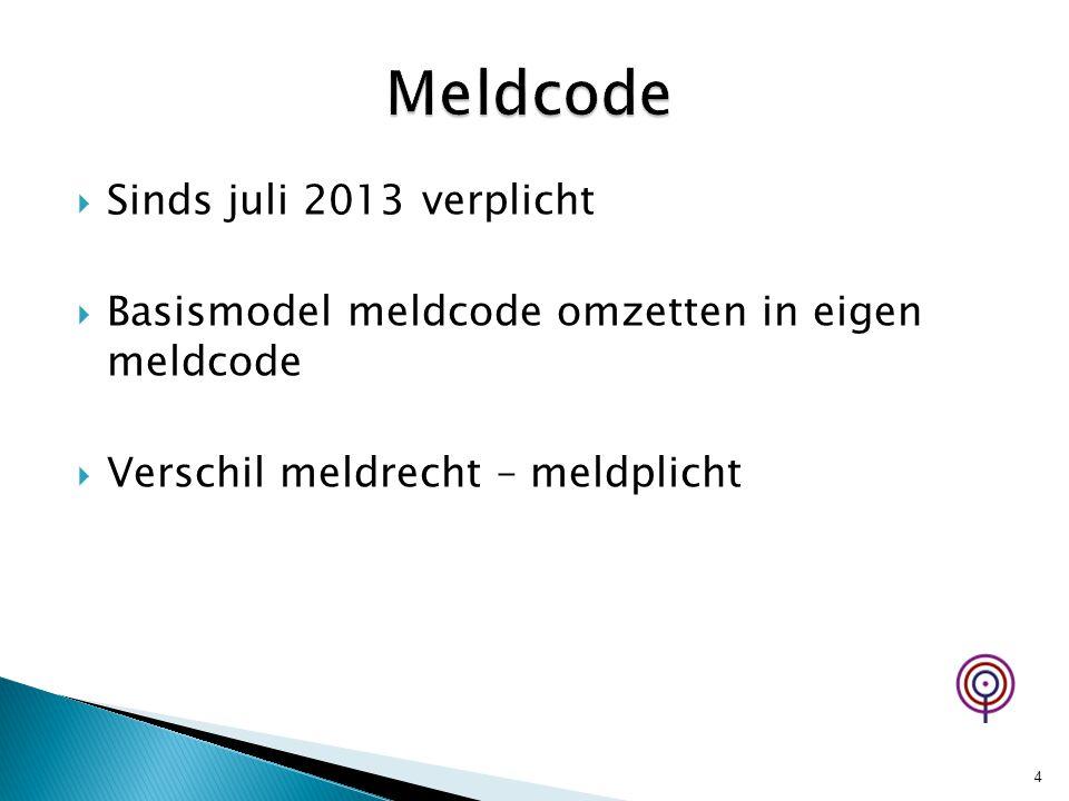  Sinds juli 2013 verplicht  Basismodel meldcode omzetten in eigen meldcode  Verschil meldrecht – meldplicht 4