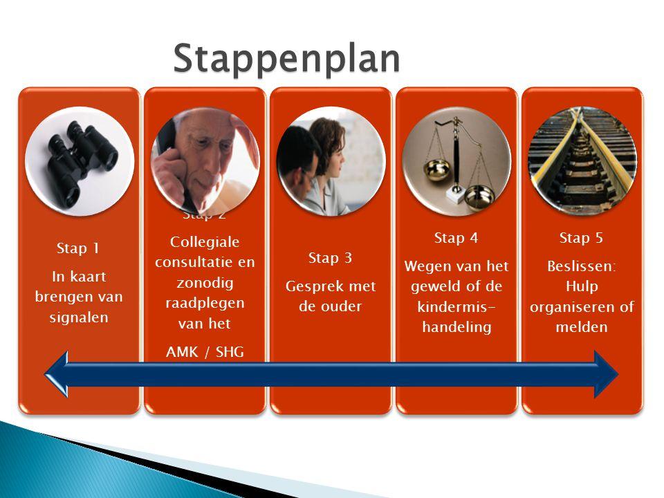 Stap 1 In kaart brengen van signalen Stap 2 Collegiale consultatie en zonodig raadplegen van het AMK / SHG Stap 3 Gesprek met de ouder Stap 4 Wegen va