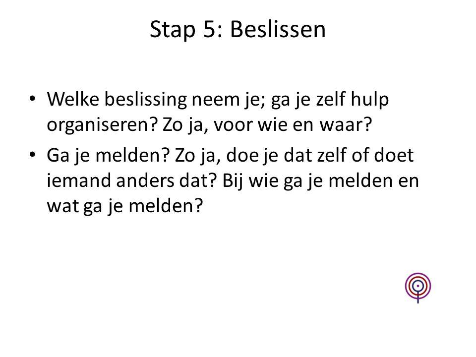 Stap 5: Beslissen Welke beslissing neem je; ga je zelf hulp organiseren.