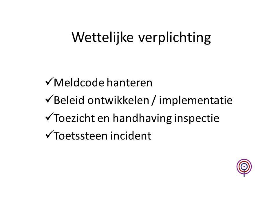 Wettelijke verplichting Meldcode hanteren Beleid ontwikkelen / implementatie Toezicht en handhaving inspectie Toetssteen incident