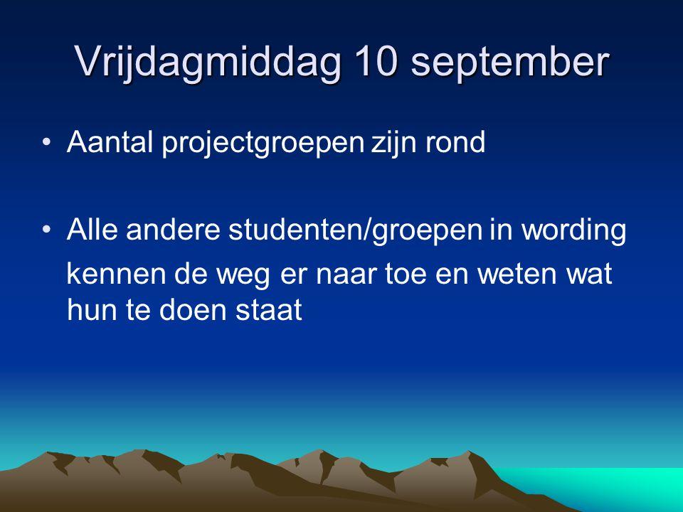 Vrijdagmiddag 10 september Aantal projectgroepen zijn rond Alle andere studenten/groepen in wording kennen de weg er naar toe en weten wat hun te doen staat