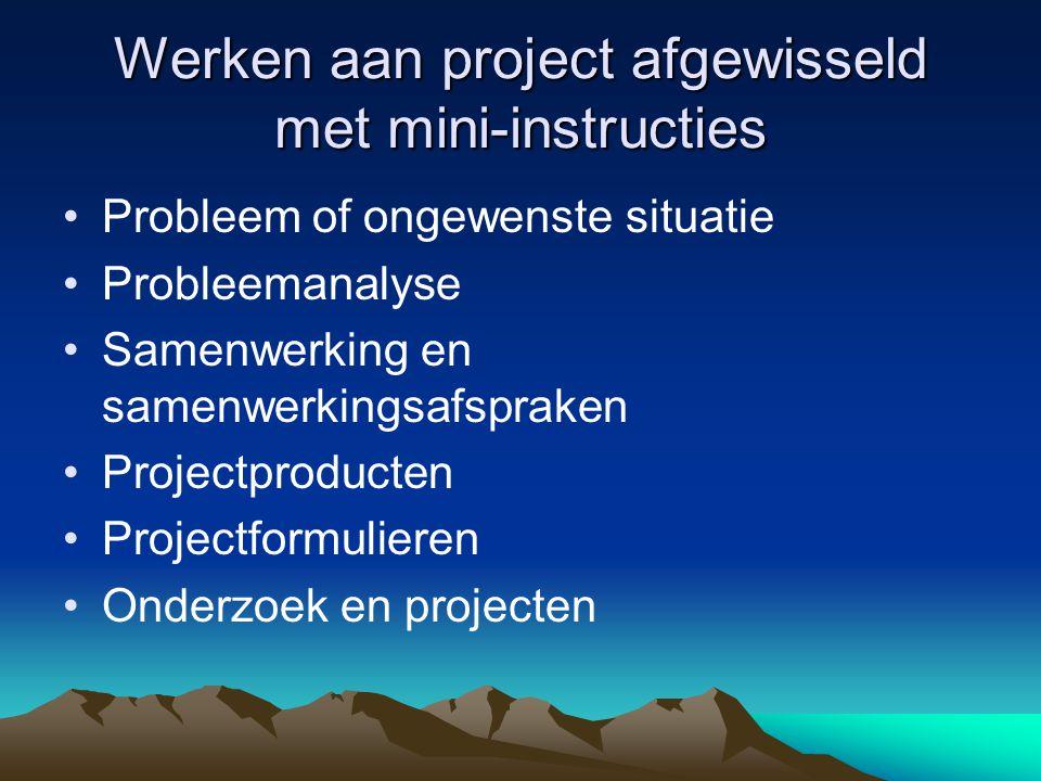 Werken aan project afgewisseld met mini-instructies Probleem of ongewenste situatie Probleemanalyse Samenwerking en samenwerkingsafspraken Projectproducten Projectformulieren Onderzoek en projecten