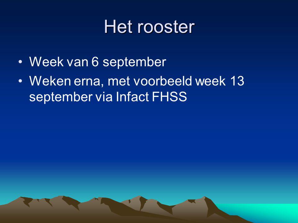 Het rooster Week van 6 september Weken erna, met voorbeeld week 13 september via Infact FHSS