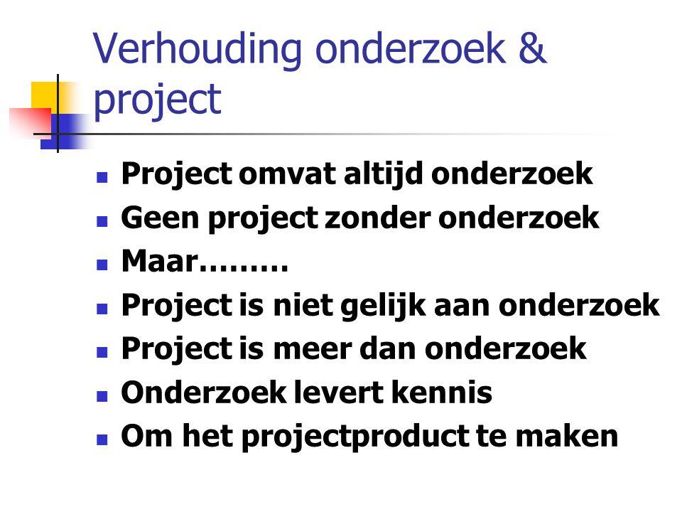 Verhouding onderzoek & project Project omvat altijd onderzoek Geen project zonder onderzoek Maar……… Project is niet gelijk aan onderzoek Project is me