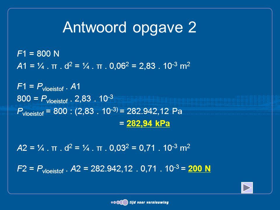 Antwoord opgave 2 F1 = 800 N A1 = ¼. π. d 2 = ¼. π. 0,06 2 = 2,83. 10 -3 m 2 F1 = P vloeistof. A1 800 = P vloeistof. 2,83. 10 -3 P vloeistof = 800 : (