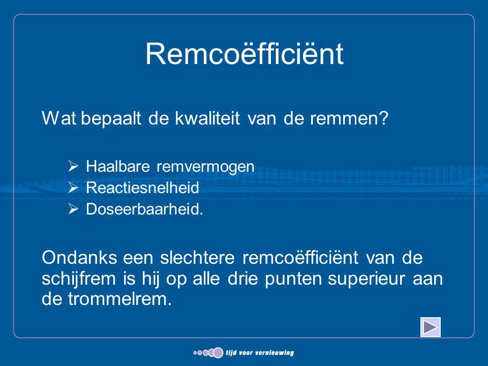 Remcoëfficiënt Wat bepaalt de kwaliteit van de remmen?  Haalbare remvermogen  Reactiesnelheid  Doseerbaarheid. Ondanks een slechtere remcoëfficiënt