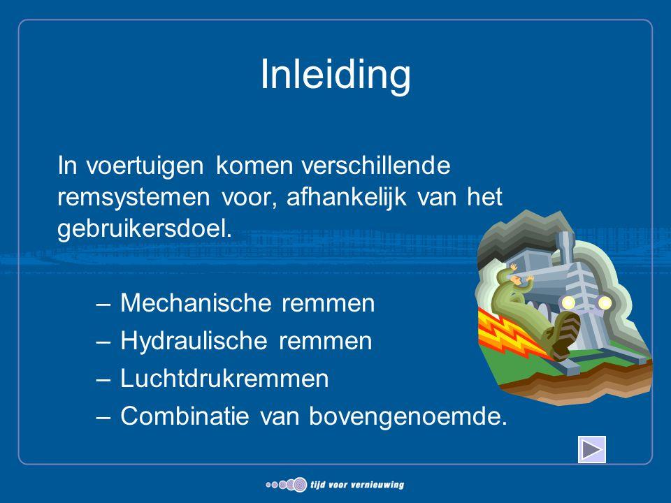 Inleiding In voertuigen komen verschillende remsystemen voor, afhankelijk van het gebruikersdoel. –Mechanische remmen –Hydraulische remmen –Luchtdrukr