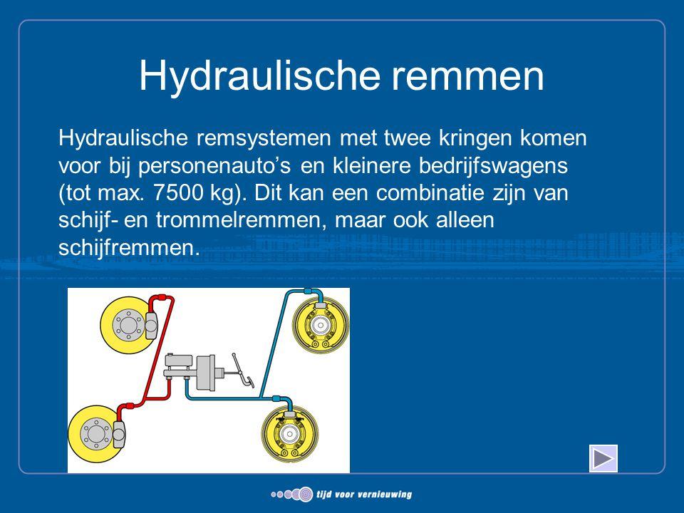 Hydraulische remmen Hydraulische remsystemen met twee kringen komen voor bij personenauto's en kleinere bedrijfswagens (tot max. 7500 kg). Dit kan een