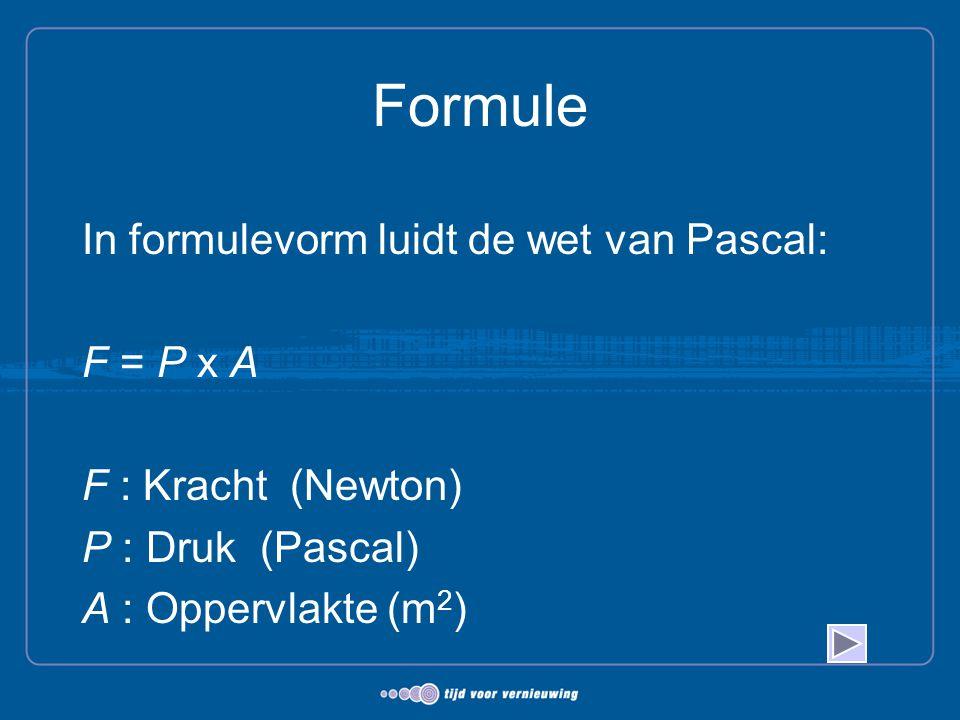 Formule In formulevorm luidt de wet van Pascal: F = P x A F : Kracht (Newton) P : Druk (Pascal) A : Oppervlakte (m 2 )