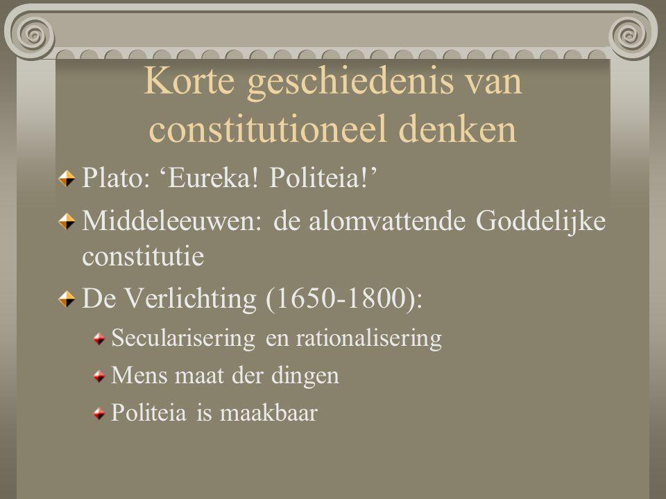 Korte geschiedenis van constitutioneel denken Plato: 'Eureka! Politeia!' Middeleeuwen: de alomvattende Goddelijke constitutie De Verlichting (1650-180