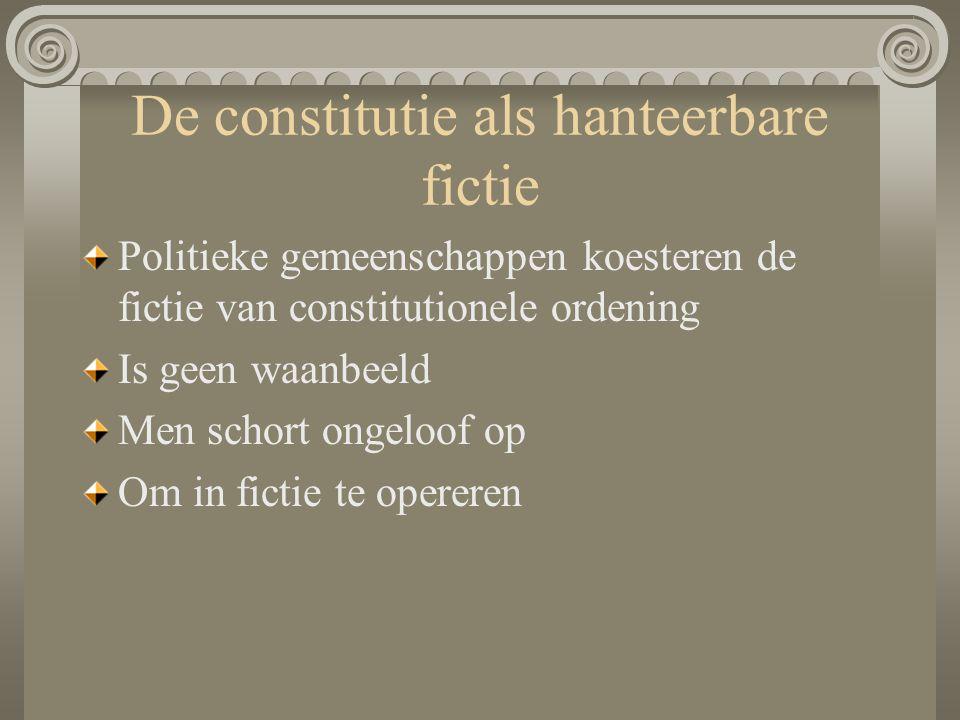 De constitutie als hanteerbare fictie Politieke gemeenschappen koesteren de fictie van constitutionele ordening Is geen waanbeeld Men schort ongeloof