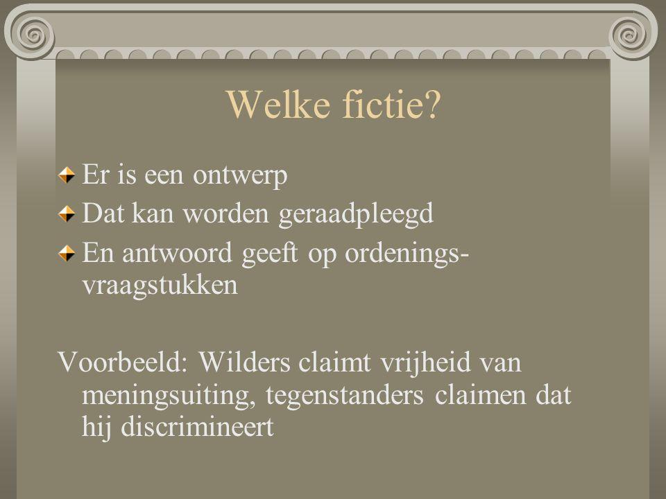 Welke fictie? Er is een ontwerp Dat kan worden geraadpleegd En antwoord geeft op ordenings- vraagstukken Voorbeeld: Wilders claimt vrijheid van mening