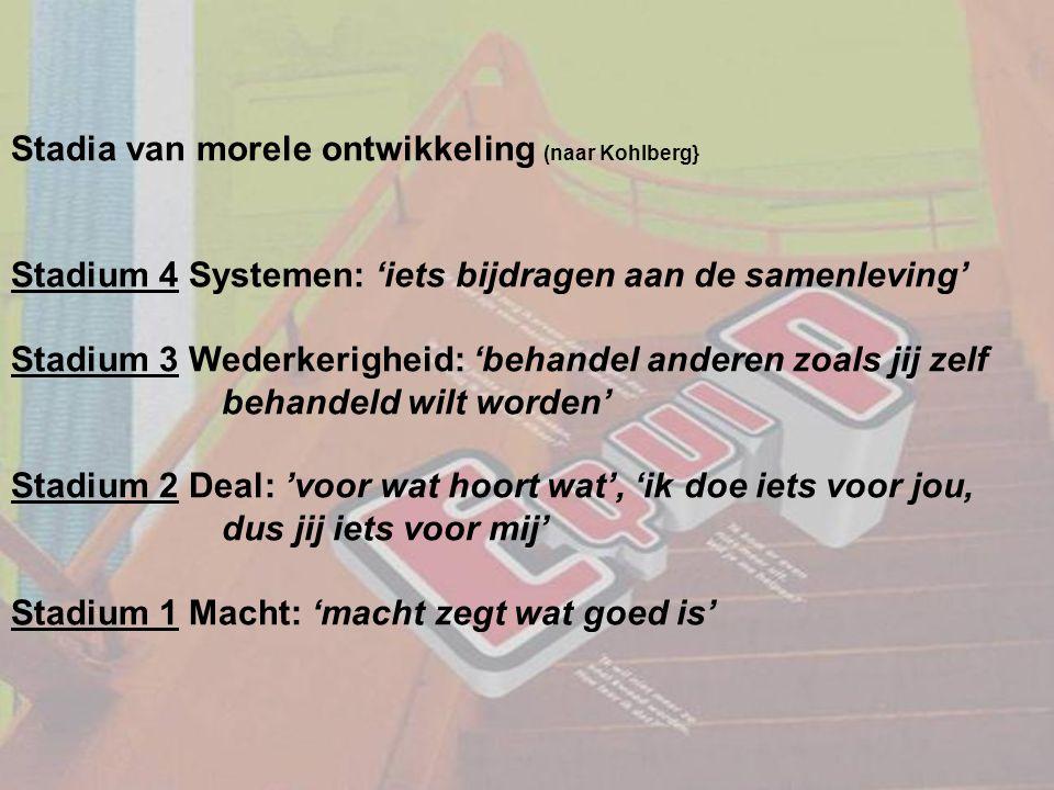 Stadia van morele ontwikkeling (naar Kohlberg} Stadium 4 Systemen: 'iets bijdragen aan de samenleving' Stadium 3 Wederkerigheid: 'behandel anderen zoa
