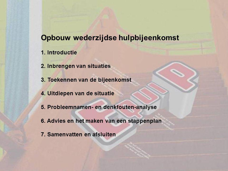 Opbouw wederzijdse hulpbijeenkomst 1. Introductie 2. Inbrengen van situaties 3. Toekennen van de bijeenkomst 4. Uitdiepen van de situatie 5. Probleemn