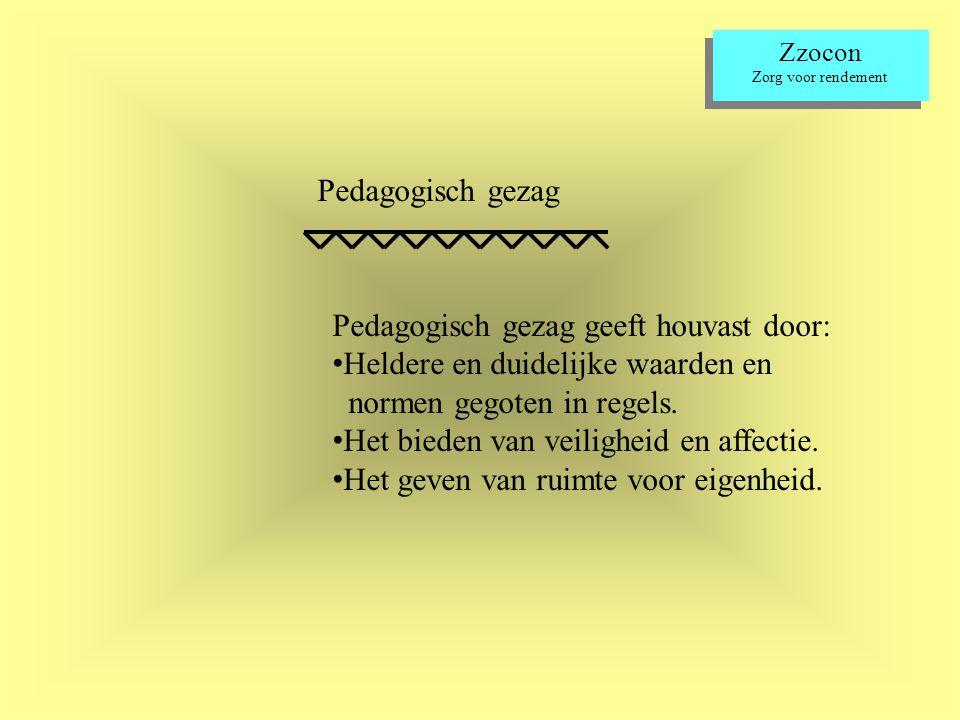Zzocon Zorg voor rendement Zzocon Zorg voor rendement Pedagogisch gezag Pedagogisch gezag geeft houvast door: Heldere en duidelijke waarden en normen gegoten in regels.