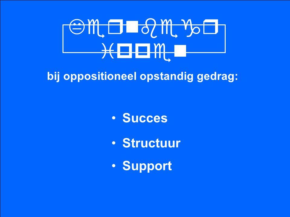 Kernbegr ippen bij oppositioneel opstandig gedrag: Succes Structuur Support