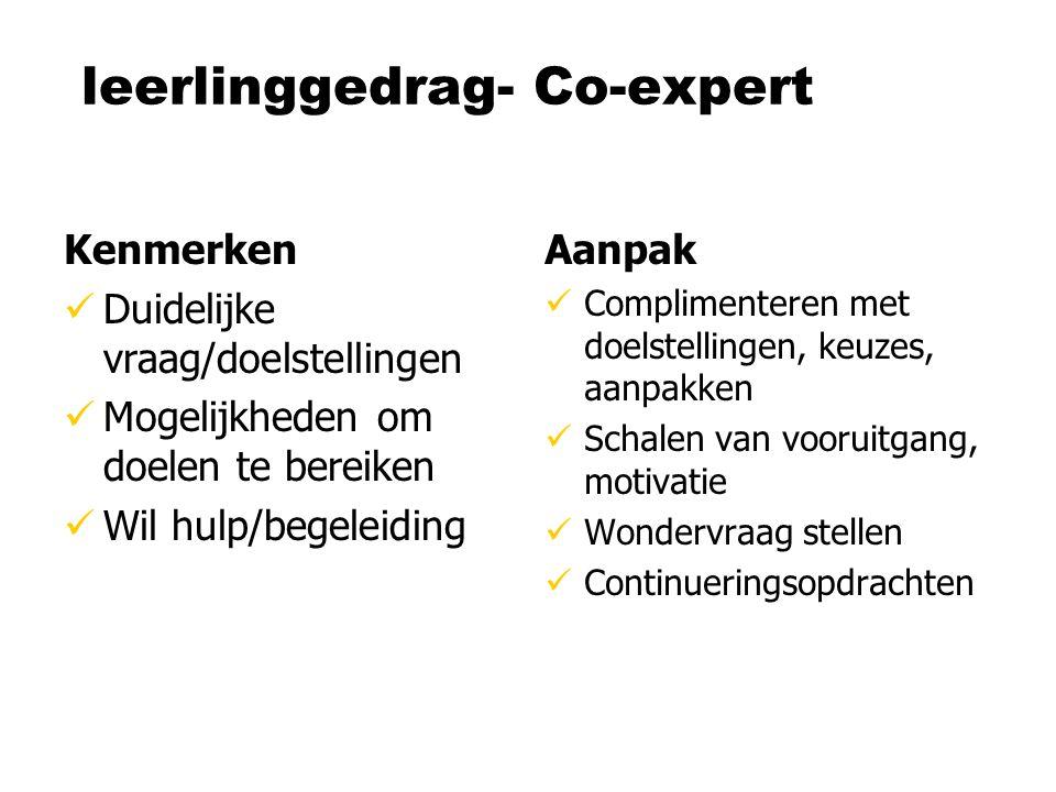 leerlinggedrag- Co-expert Kenmerken Duidelijke vraag/doelstellingen Mogelijkheden om doelen te bereiken Wil hulp/begeleiding Aanpak Complimenteren met