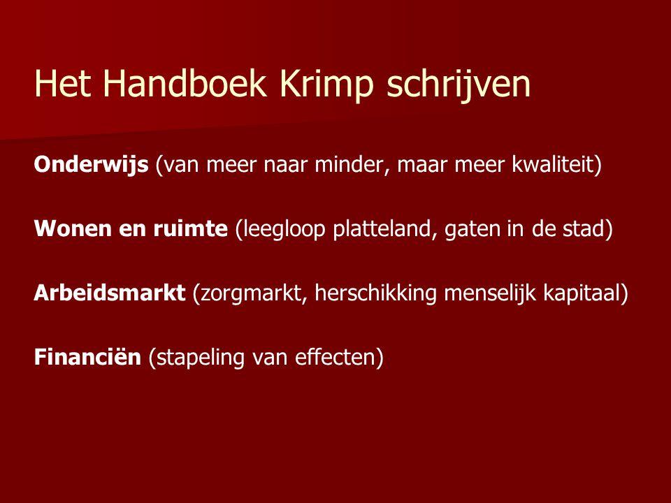 Het Handboek Krimp schrijven Onderwijs (van meer naar minder, maar meer kwaliteit) Wonen en ruimte (leegloop platteland, gaten in de stad) Arbeidsmark