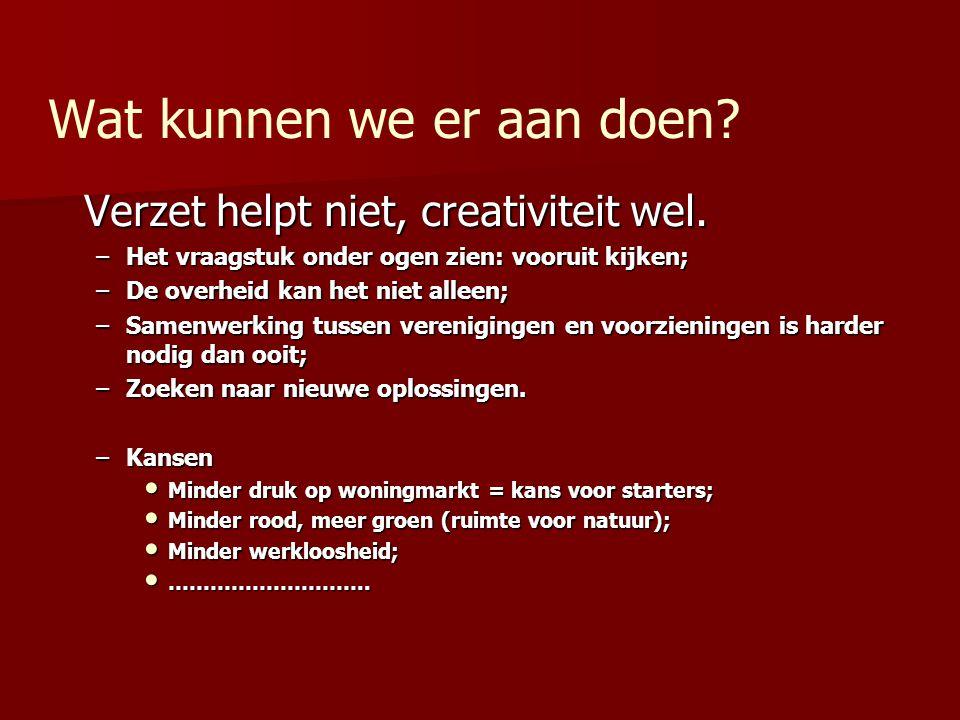 Wat kunnen we er aan doen? Verzet helpt niet, creativiteit wel. –Het vraagstuk onder ogen zien: vooruit kijken; –De overheid kan het niet alleen; –Sam