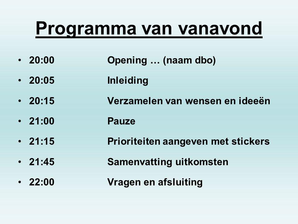 Programma van vanavond 20:00Opening … (naam dbo) 20:05Inleiding 20:15Verzamelen van wensen en ideeën 21:00Pauze 21:15Prioriteiten aangeven met sticker
