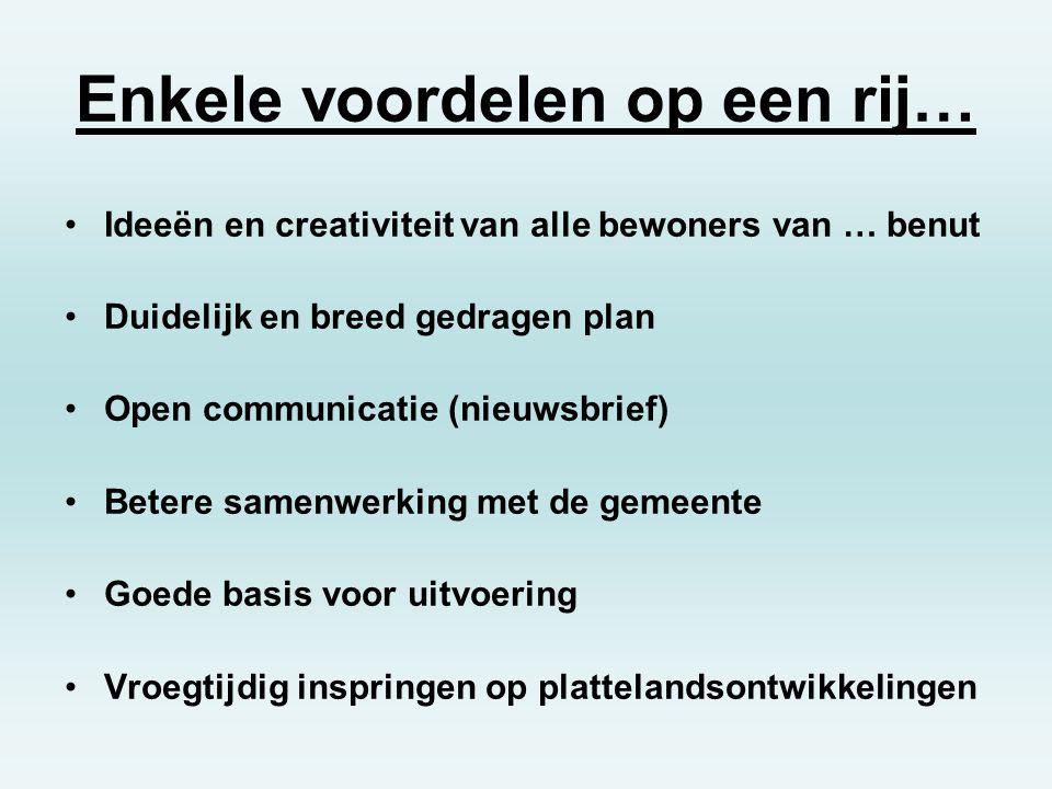 Enkele voordelen op een rij… Ideeën en creativiteit van alle bewoners van … benut Duidelijk en breed gedragen plan Open communicatie (nieuwsbrief) Bet