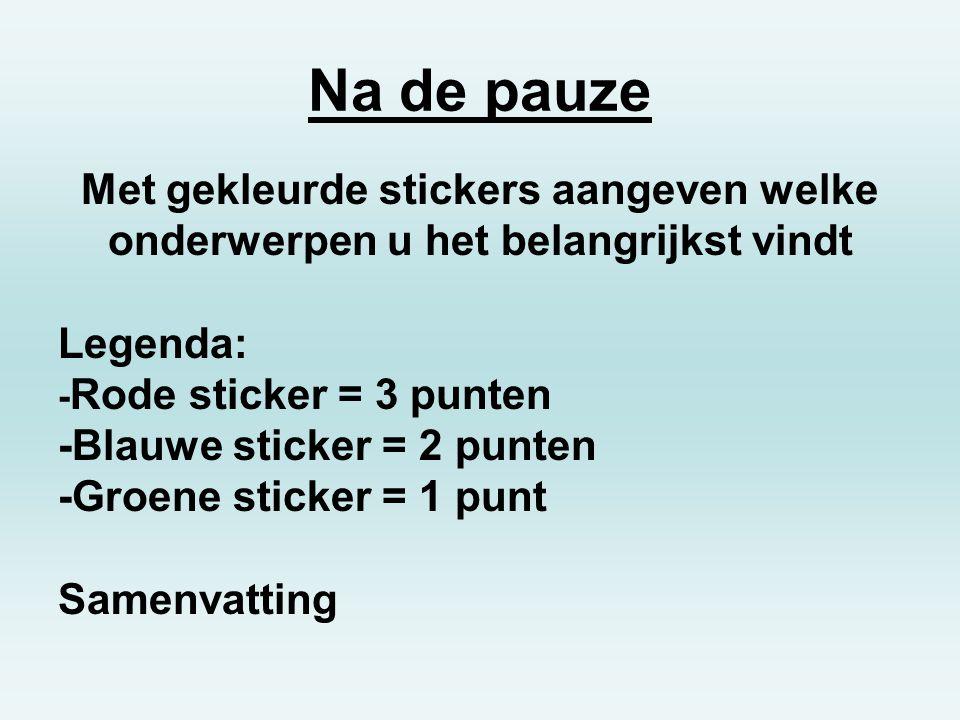 Na de pauze Met gekleurde stickers aangeven welke onderwerpen u het belangrijkst vindt Legenda: - Rode sticker = 3 punten -Blauwe sticker = 2 punten -Groene sticker = 1 punt Samenvatting
