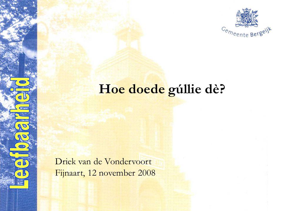 Hoe doede gúllie dè Driek van de Vondervoort Fijnaart, 12 november 2008