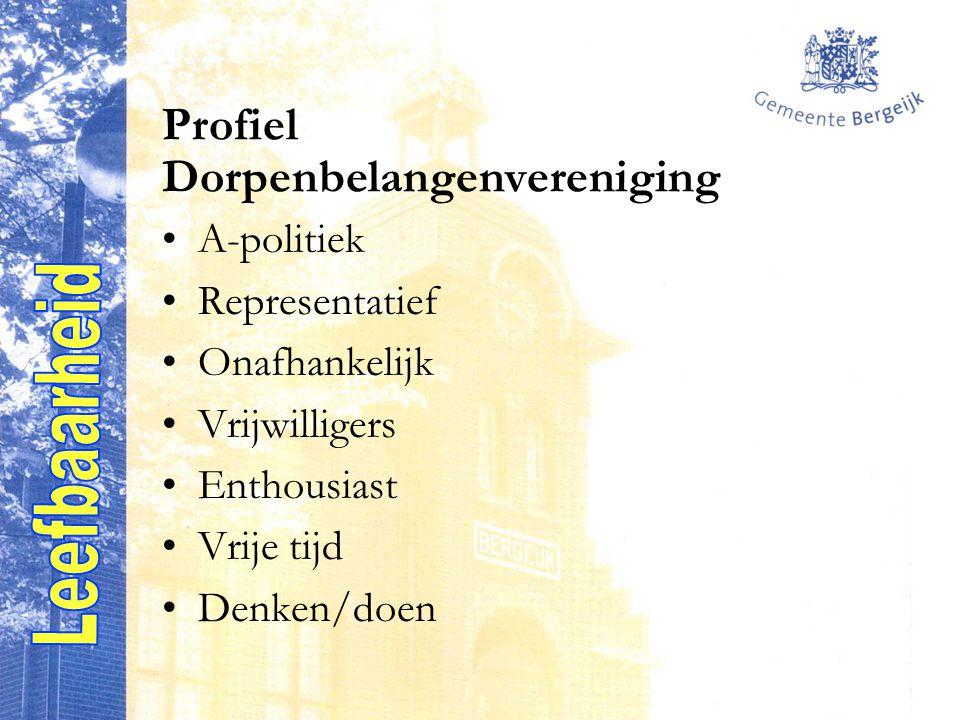 Profiel Dorpenbelangenvereniging A-politiek Representatief Onafhankelijk Vrijwilligers Enthousiast Vrije tijd Denken/doen