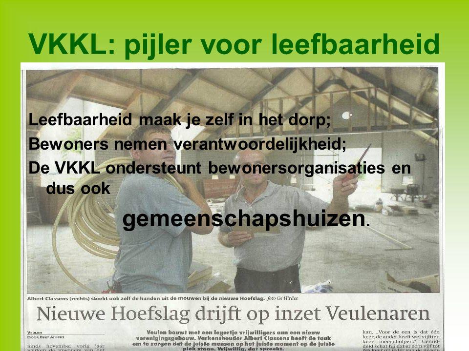 VKKL: pijler voor leefbaarheid Leefbaarheid maak je zelf in het dorp; Bewoners nemen verantwoordelijkheid; De VKKL ondersteunt bewonersorganisaties en