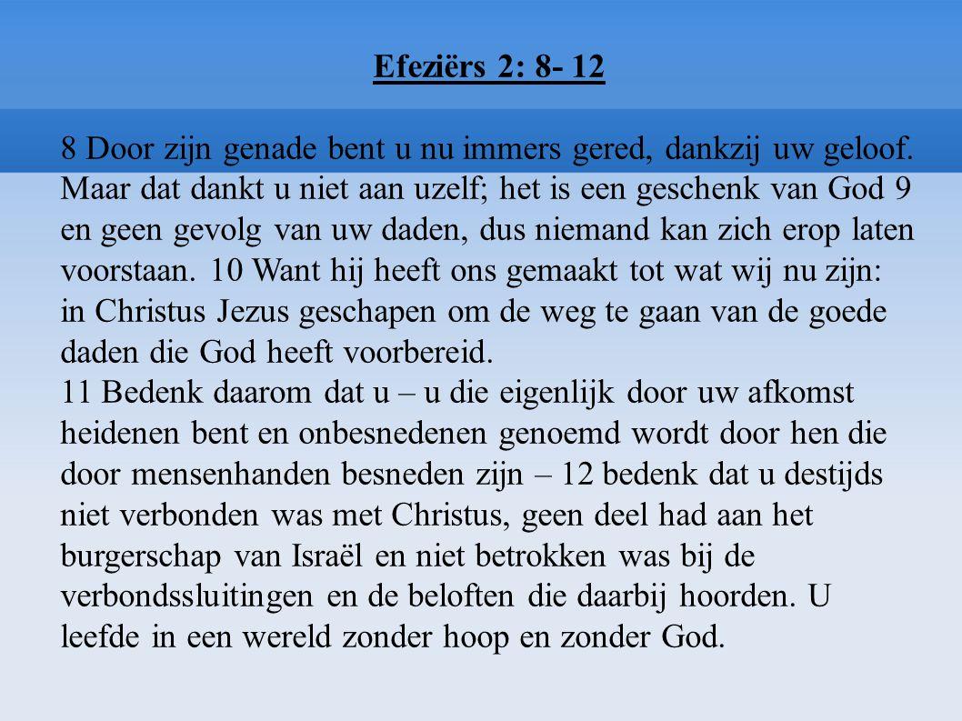 Efeziërs 2: 8- 12 8 Door zijn genade bent u nu immers gered, dankzij uw geloof. Maar dat dankt u niet aan uzelf; het is een geschenk van God 9 en geen