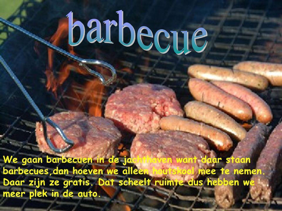 We gaan barbecuen in de jachthaven want daar staan barbecues,dan hoeven we alleen houtskool mee te nemen.