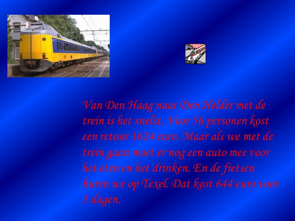 We hebben een snelle manier gevonden om van Den Haag naar Den Helder te gaan. Den Helder is de plaats waar de boot naar Texel gaat.
