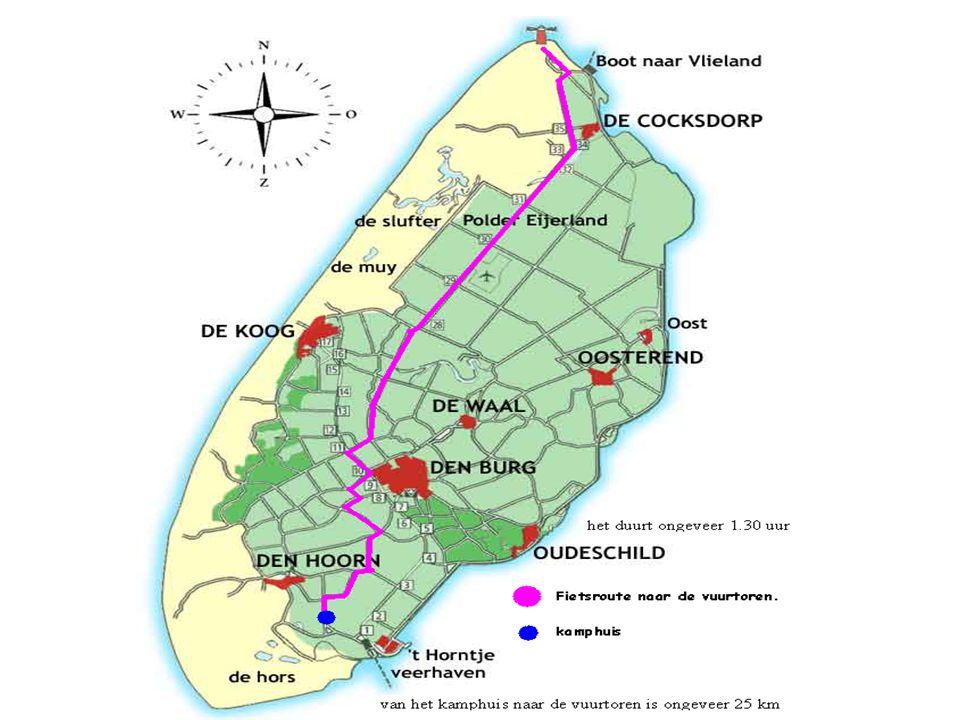 We hebben een kaart gemaakt. De afstand van het kamphuis tot de vuurtoren is ongeveer 25 km. Je doet daar ongeveer 1.30 uur over. Dat is met een pauze