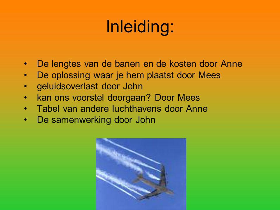 Inleiding: De lengtes van de banen en de kosten door Anne De oplossing waar je hem plaatst door Mees geluidsoverlast door John kan ons voorstel doorgaan.