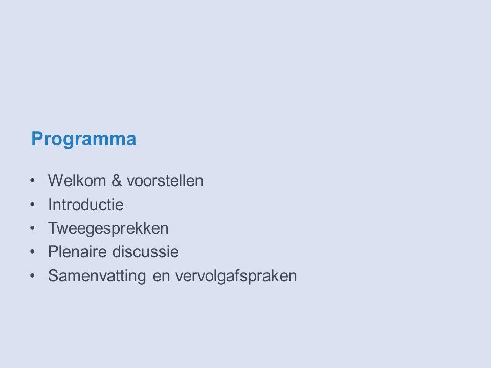 Programma Welkom & voorstellen Introductie Tweegesprekken Plenaire discussie Samenvatting en vervolgafspraken