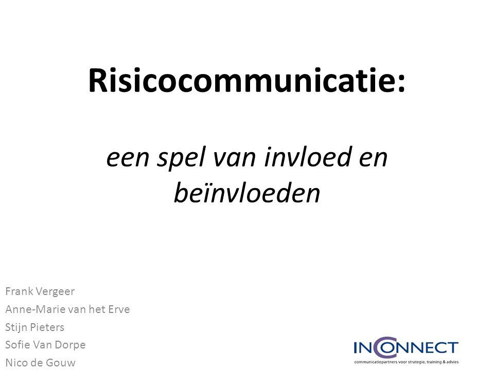 Risicocommunicatie: een spel van invloed en beïnvloeden Frank Vergeer Anne-Marie van het Erve Stijn Pieters Sofie Van Dorpe Nico de Gouw